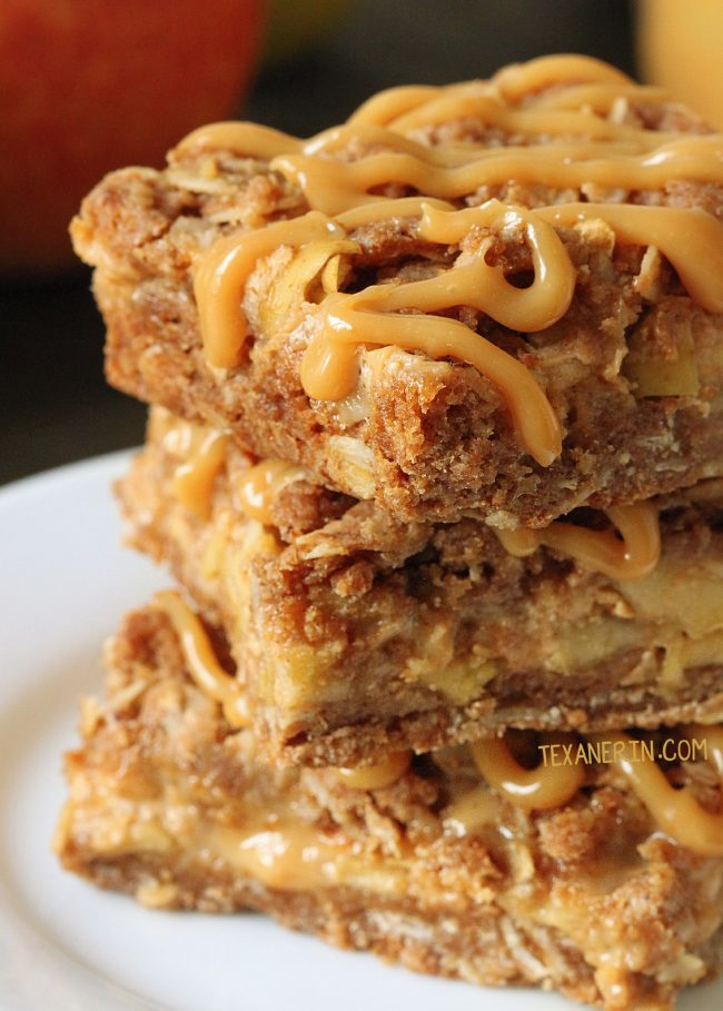 Dulce de Leche Apple Streusel Bars (with a 100% whole grain option)