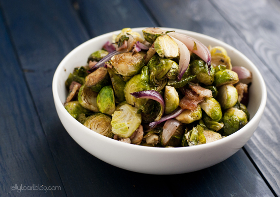 Balsamic Glazed Brussels Sprouts with Bacon + Onion