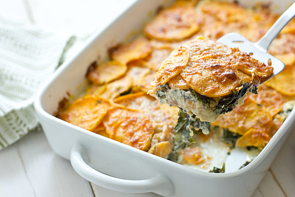 Sweet Potato Kale Gratin