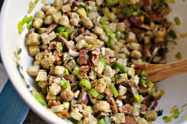 Bacon, Leek Stuffing with Sage and Pecans