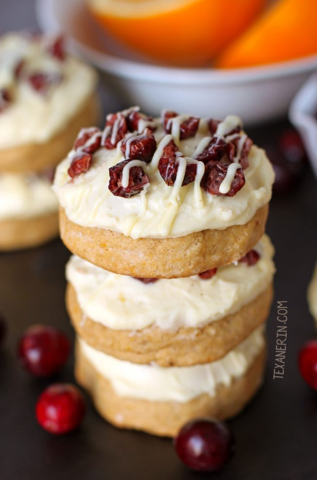 Cranberry Bliss Cookies with white chocolate cream cheese frosting (whole grain option)