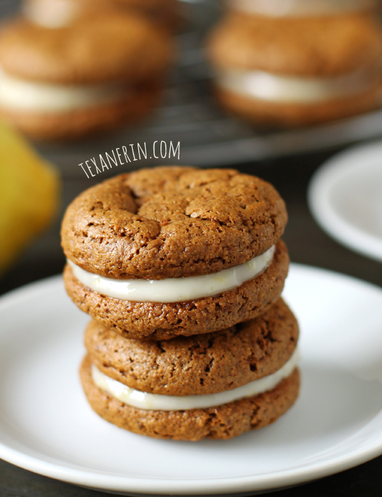 Chewy Ginger Sandwich Cookies with Lemon Filling – grain-free with a dairy-free chocolate alternative! From texanerin.com