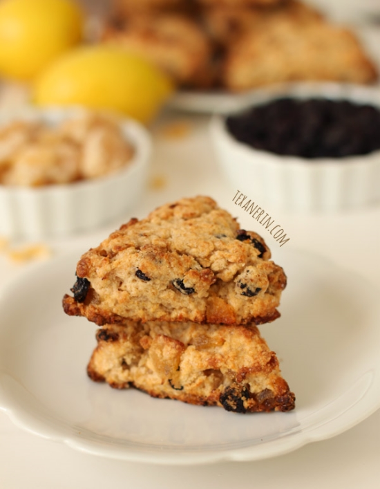 Blueberry Lemon Ginger Scones made healthier! From texanerin.com