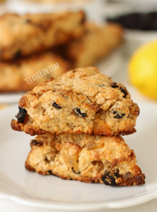 Whole Wheat Blueberry Lemon Ginger Scones from texanerin.com