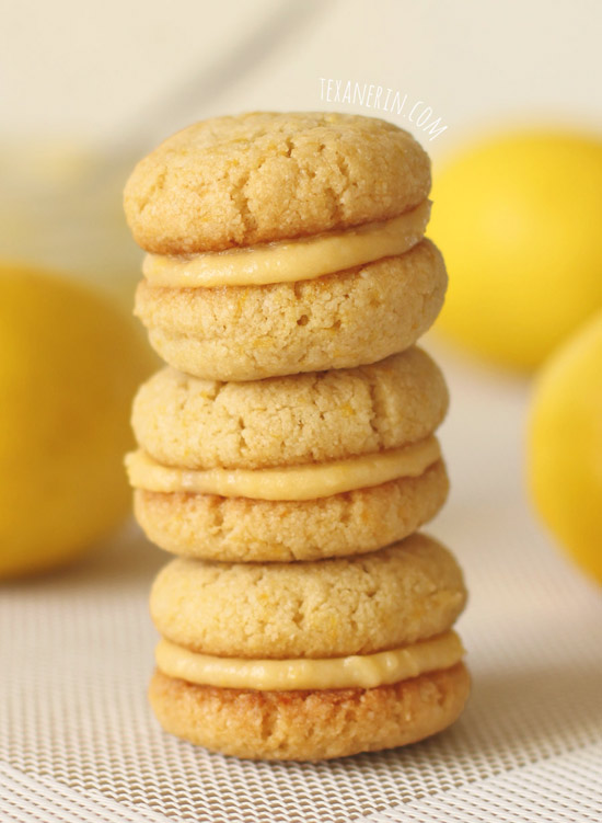 Dairy-free, Grain-free and Gluten-free Lemon Cookie Sandwiches from texanerin.com