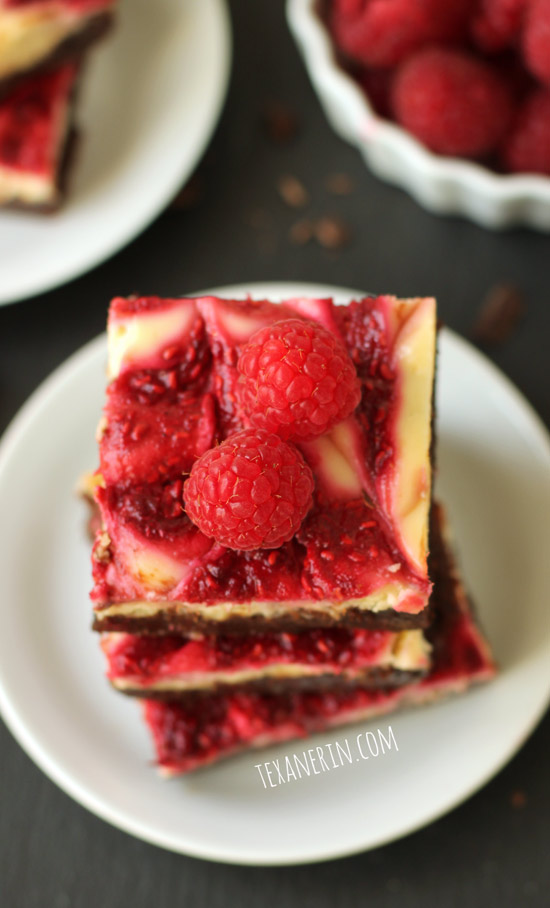 Healthier Raspberry Cheesecake Brownies adapted from the famous Baked brownies! From texanerin.com