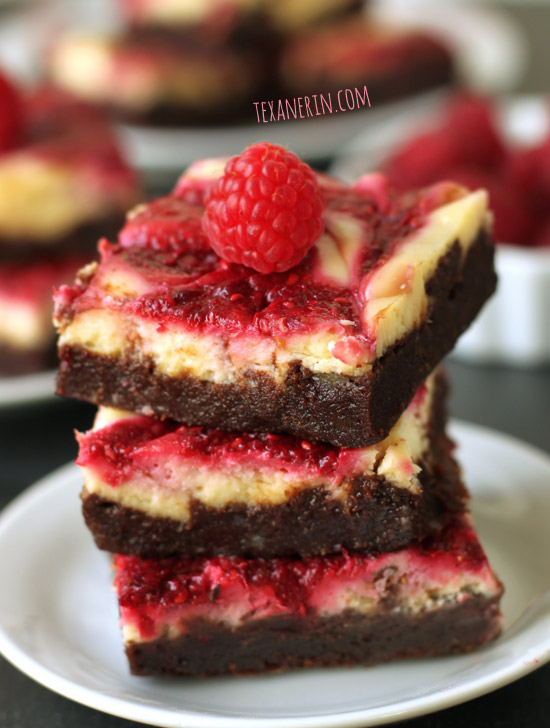 Raspberry Cheesecake Brownies made healthier. Adapted from the famous Baked brownies! From texanerin.com