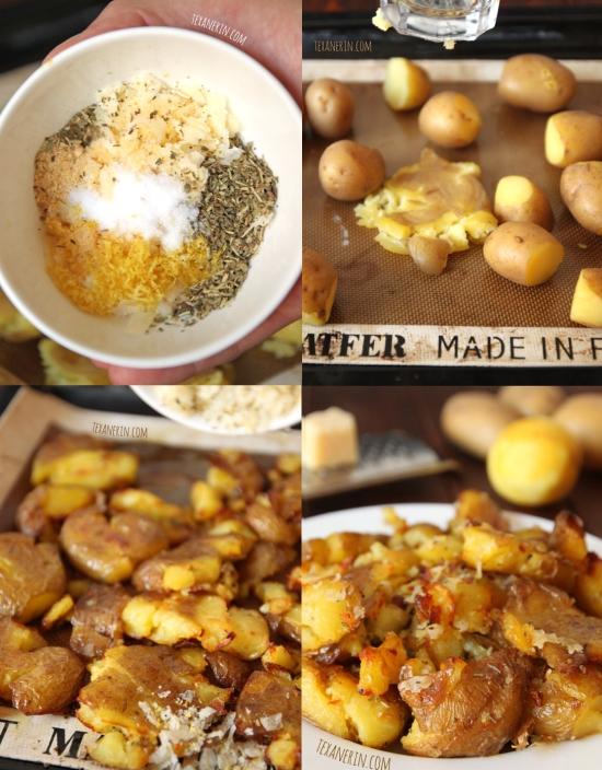 Delicious Smashed Potatoes with Pecorino Romano Gremolata from texanerin.com