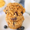Blueberry Lemon Curd Muffins (100% whole grain, dairy-free)