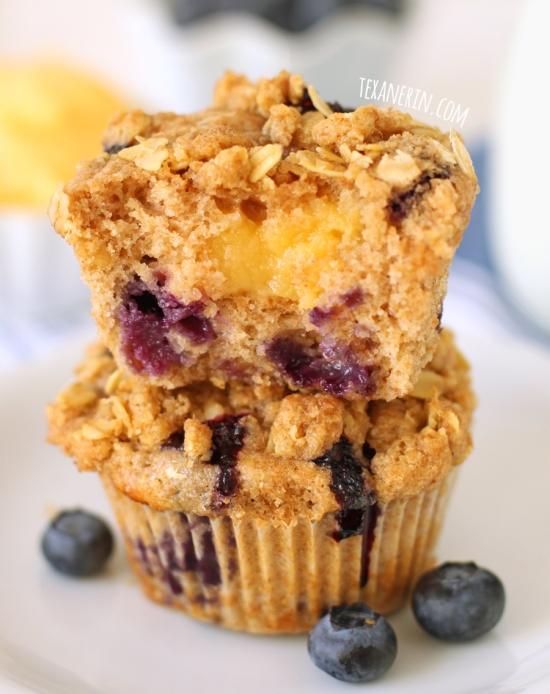 100% whole grain blueberry lemon curd muffins!