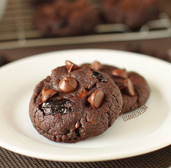 Chewy Double Chocolate Cherry Cookies made healthier with whole grains and coconut oil!