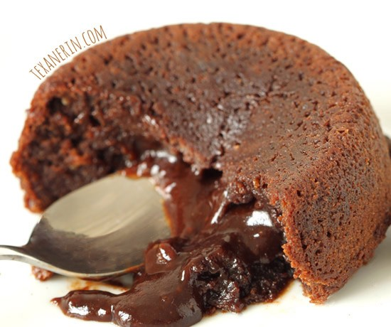 Healthier Molten Lava Cakes for Two (100% whole grain, dairy-free)