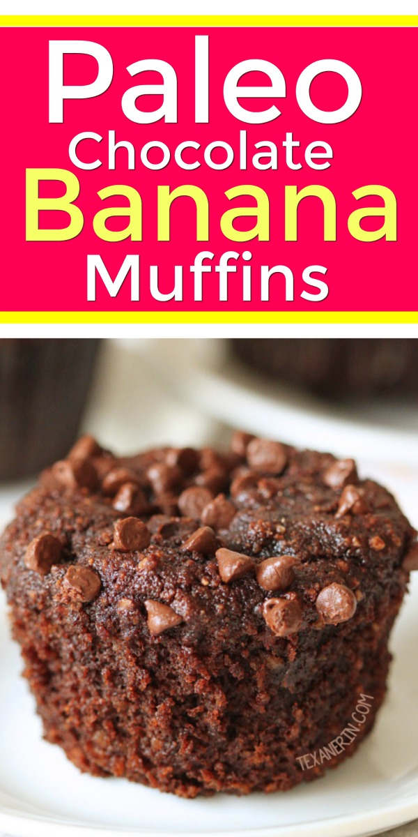 These paleo chocolate banana muffins are super rich, delicious and decadent! (honey sweetened, gluten-free, grain-free dairy-free)