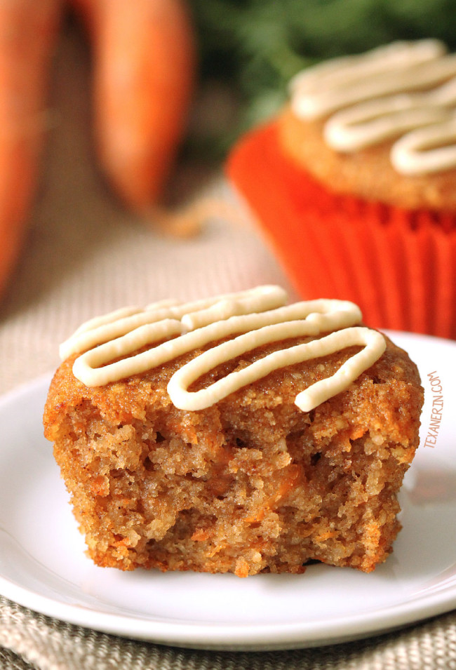 These gluten-free and grain-free carrot cake cupcakes have the best fluffy texture! With a paleo and dairy-free option. Naturally sweetened with honey.