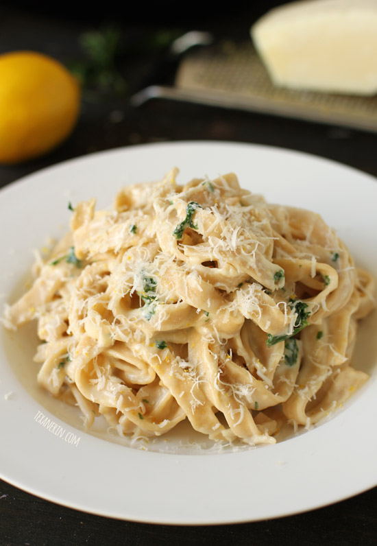 Healthier Fettuccine Alfredo – with gluten-free and whole grain options!