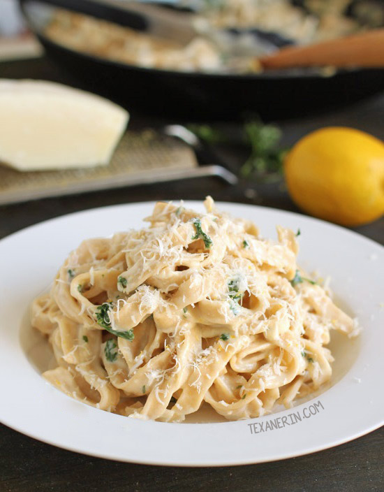 Quick and Easy Healthier Fettuccine Alfredo – with gluten-free and whole grain options!