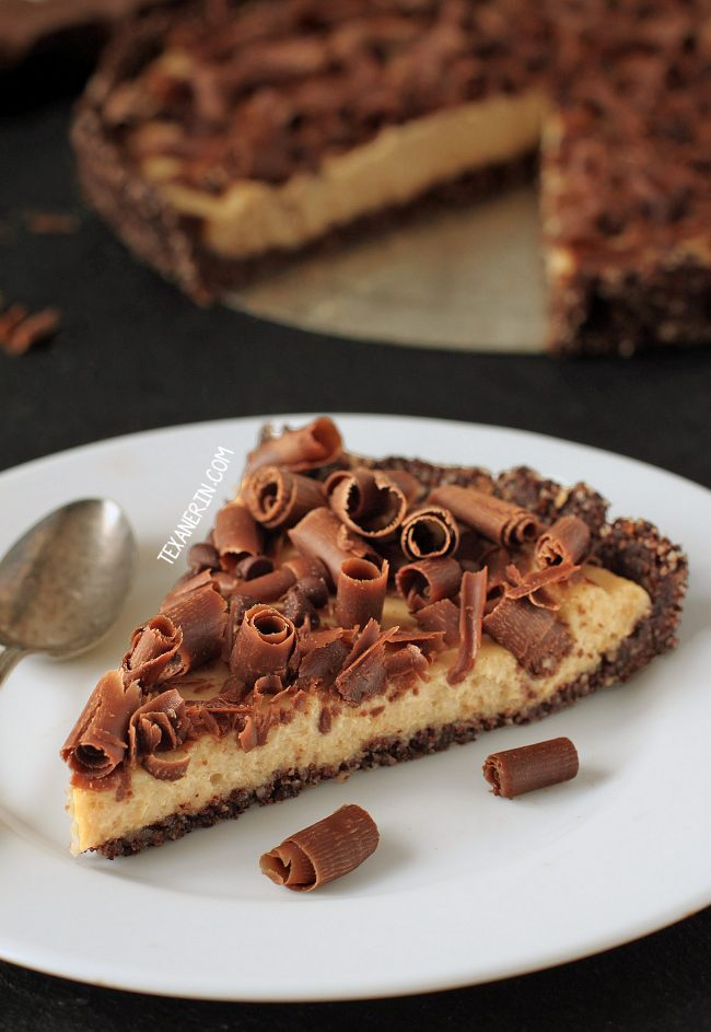 Healthier No-bake Peanut Butter Pie – naturally sweetened and uses natural peanut butter! (grain-free, gluten-free, and raw)!