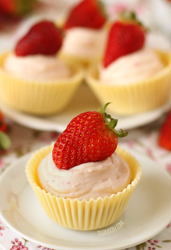 Strawberry Cheesecake Mousse in White Chocolate Cups