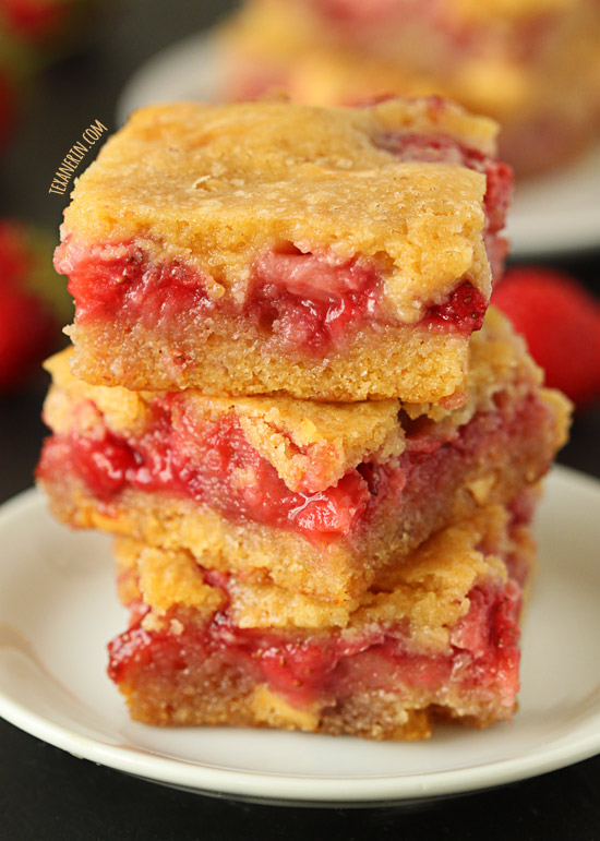 Strawberry White Chocolate Blondies – melted white chocolate in the batter makes these ultra chocoatey!–