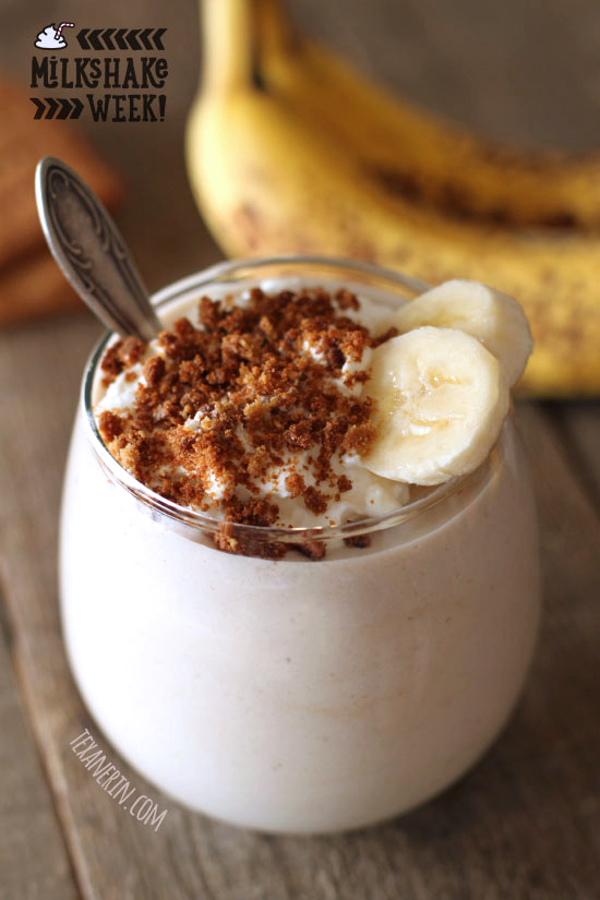 Healthy Banana Cream Pie Milkshake – with dairy-free, vegan, whole wheat, grain-free and gluten-free options!