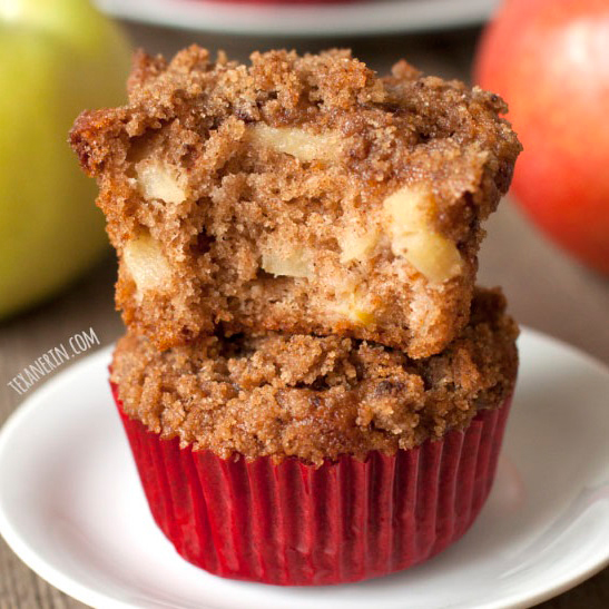 100% Whole Grain Cinnamon Apple Muffins