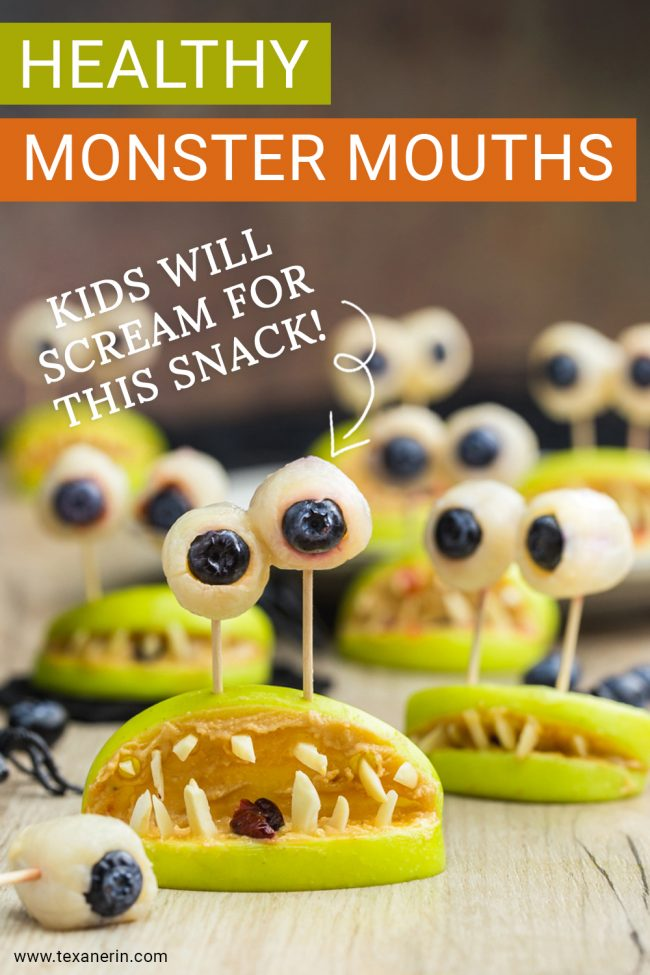 These monster mouths are perfect healthy Halloween treats and just use apples, strawberry jam, nut or seed butter, and almonds / sunflower seeds. Naturally paleo, vegan, nut-free, grain-free, gluten-free and dairy-free.