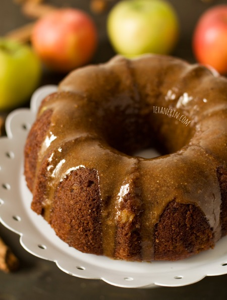 A super moist apple butter bundt cake full of fall flavor and with maple cinnamon almond butter glaze! Grain-free, gluten-free and dairy-free