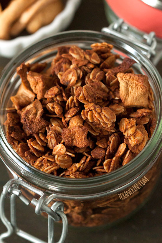 Cinnamon Apple Granola – allergy friendly and delicious, too! Gluten-free, vegan, dairy-free, and 100% whole grain.