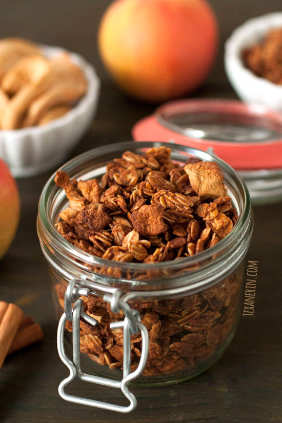 Cinnamon Apple Granola – delicious and gluten-free, dairy-free, vegan and 100% whole grain!