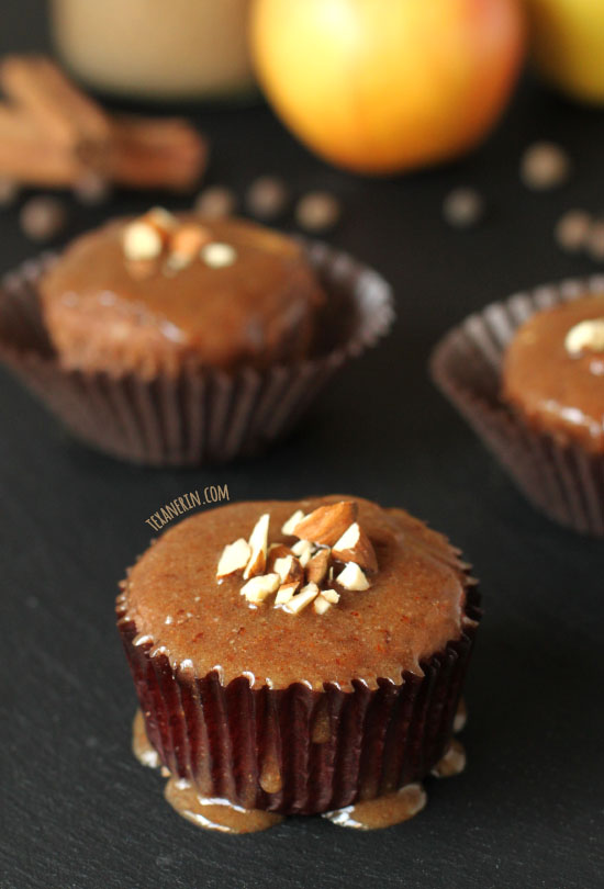 Grain-free, gluten-free, and dairy-free Spiced Applesauce Cupcakes with Maple Almond Butter Glaze – completely maple syrup sweetened!