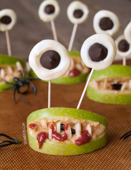 Halloween Monster Mouths - a great health Halloween snack! Free of processed food and naturally vegan, paleo and gluten-free. Can also be made nut-free.