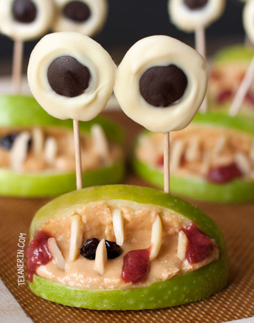 Halloween Monster Mouths - a great health Halloween snack! Free of processed food and naturally paleo, vegan, and gluten-free. Can also be made nut-free.