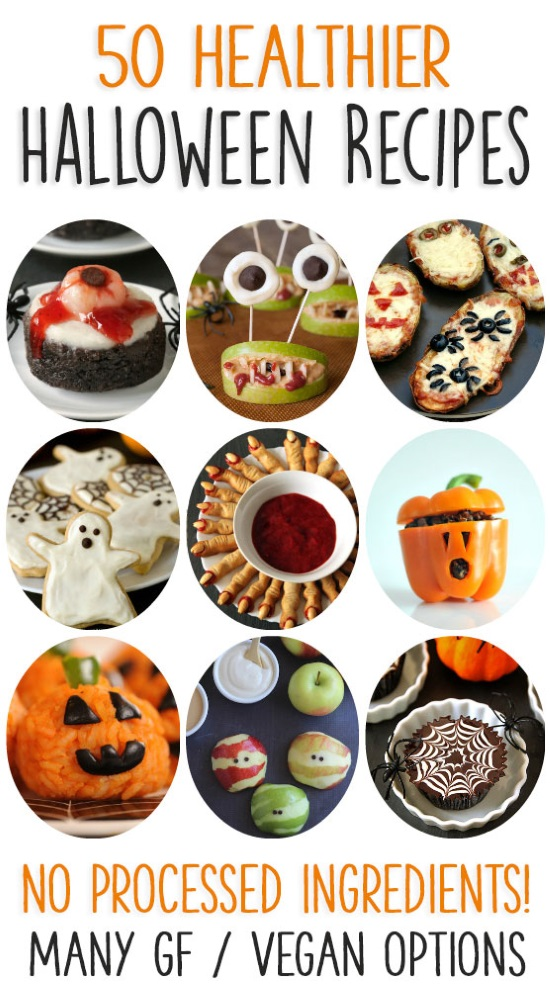 50 of the best healthier Halloween recipes! Free of processed food and food coloring with many allergy-friendly options.