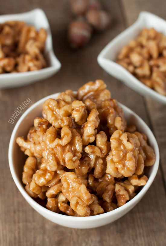 Maple Candied Walnuts – all you need is a pan, walnuts and maple syrup! Incredibly quick and easy and  naturally paleo, gluten-free and vegan.