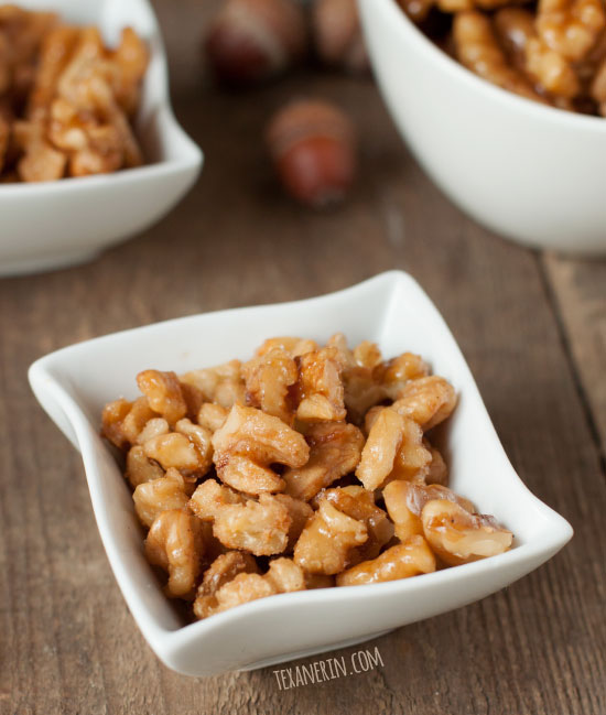 Maple Candied Walnuts – all you need is maple syrup, a pan, and walnuts! Super quick and easy and naturally paleo, gluten-free and vegan.