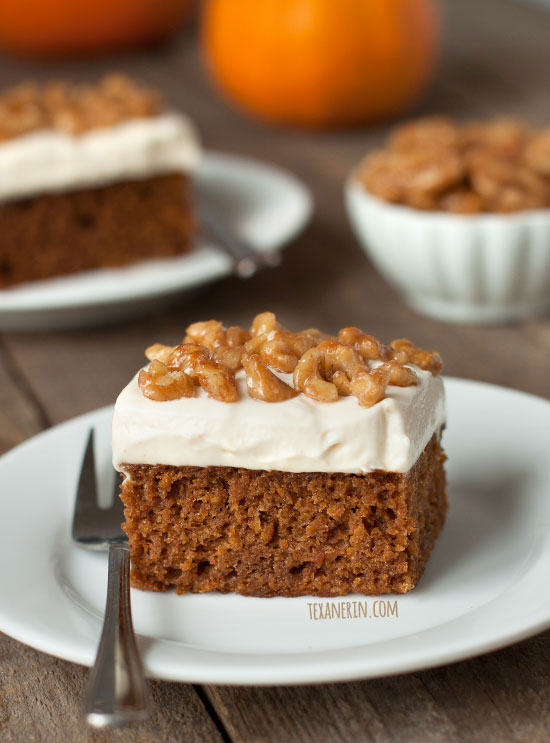 Pumpkin Cake with Maple Mascarpone Frosting - can be made gluten-free, 100% whole wheat or with all-purpose flour.