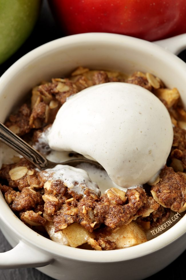 Gluten-free Apple Crumble for Two - vegan and dairy-free option and 100% whole grain!