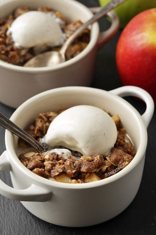 Easy Gluten-free Apple Crumble for Two - vegan and dairy-free option and 100% whole grain!
