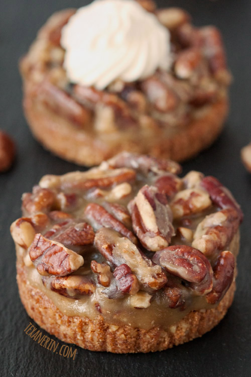 Grain-free and Gluten-free Mini Caramel Pecan Tarts – have a graham cracker like crust and are incredibly easy to make! #grainfree #glutenfree