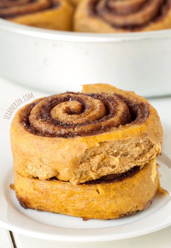 These Whole Wheat Pumpkin Cinnamon Buns are great with caramel sauce or maple cream cheese frosting!