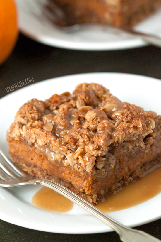 These gluten-free and 100% whole grain pumpkin pie bars are loaded with streusel and are a fun and delicious alternative to traditional pumpkin pie!