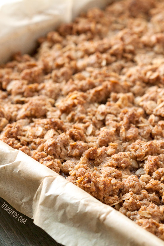 These gluten-free and 100% whole grain pumpkin pie bars are loaded with streusel and are a delicious and fun alternative to traditional pumpkin pie!