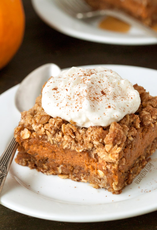 These delicious gluten-free and 100% whole grain pumpkin pie bars are loaded with streusel and are a fun alternative to traditional pumpkin pie!