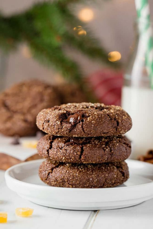 These chocolate gingerbread cookies are unbelievably soft and chewy! Can be made with all-purpose or whole wheat flour and are naturally dairy-free.
