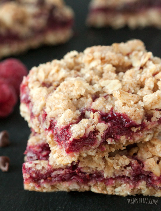 ... raspberry oat bars! Can also be made with all-purpose flour and butter