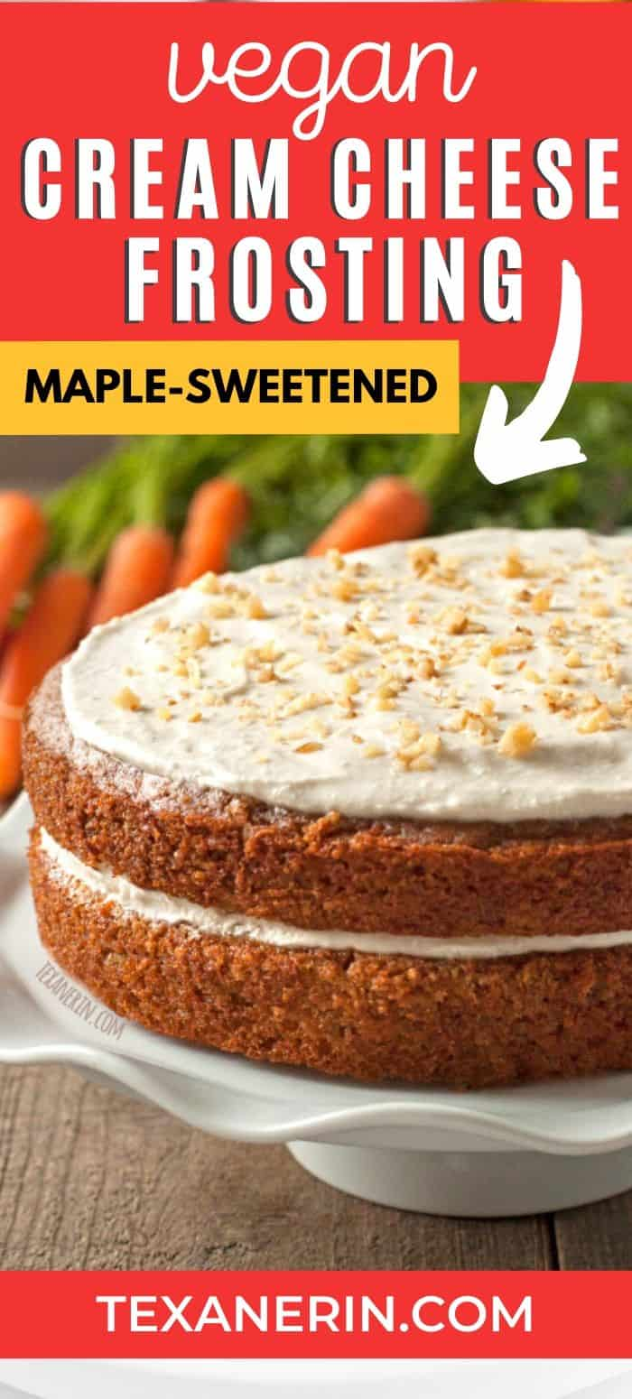 This vegan cream cheese frosting doesn't have any unusual ingredients (and no processed vegan cream cheese!), is maple sweetened and dairy-free! A great vegan frosting recipe.