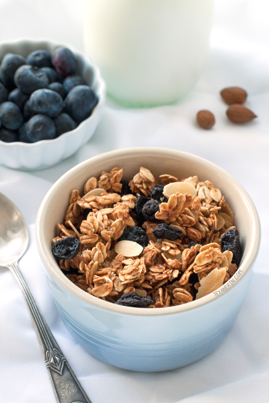 Spiced Blueberry Almond Granola (gluten-free, dairy-free, whole grain ...