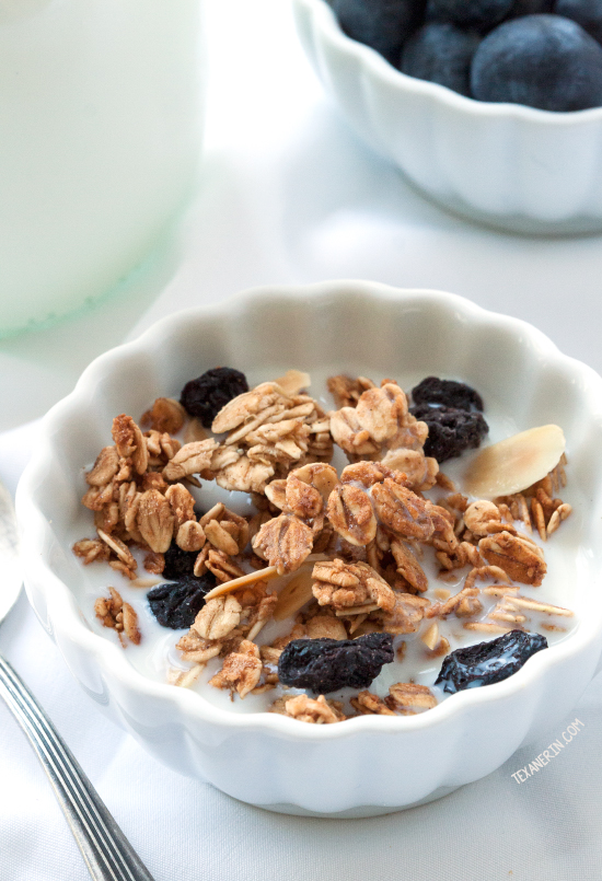 Spiced Blueberry Almond Granola {gluten-free, dairy-free, maple-sweetened and 100% whole grain}