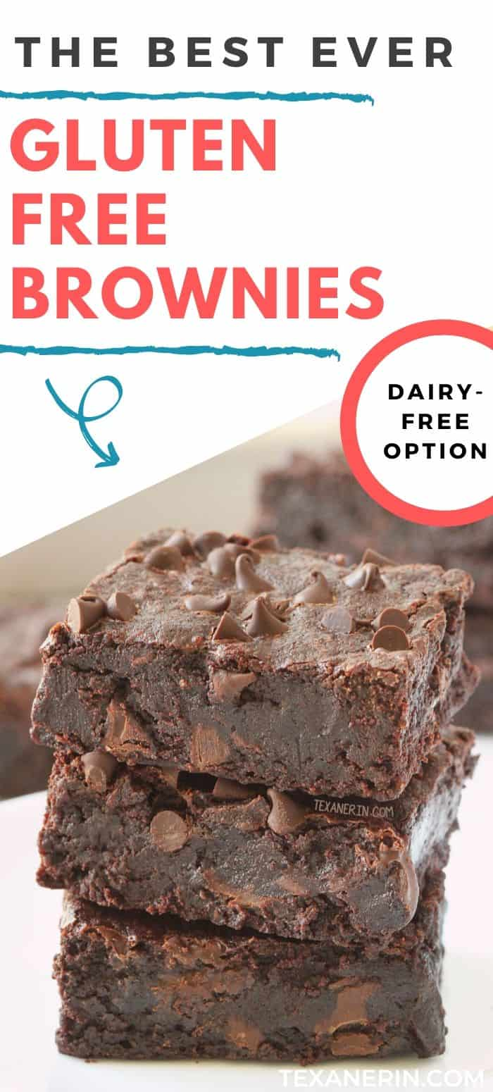 The best gluten-free brownies (and the reviewers agree with me)! So fudgy, gooey, and incredibly easy to make. If you're looking for a truly delicious gluten-free brownie recipe, look no further. They can also be made with all-purpose flour or whole wheat flour for a non-GF version. With a dairy-free option.
