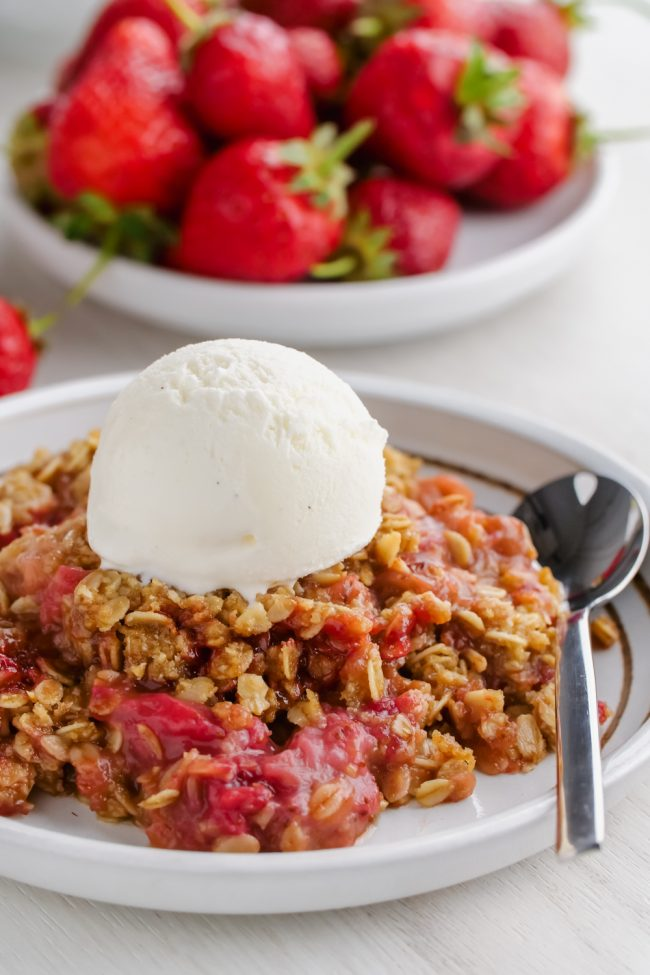 This strawberry rhubarb crisp has a thick layer of oat-based topping, is gluten-free, whole grain and can easily be made dairy-free and vegan. So many people have told me that this is the best crisp topping ever!